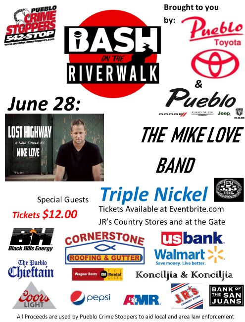 Mark your calendars for this summers&#39; Bash on the Riverwalk events!   On June 28th, there will be Entertainment by The Mike Love Band! Opening performance by Triple Nickel!  Must be 21 years of age or older to enter, Photo ID required!   Buy tickets NOW on Eventbrite. <br>http://pic.twitter.com/QaEOqB6THq