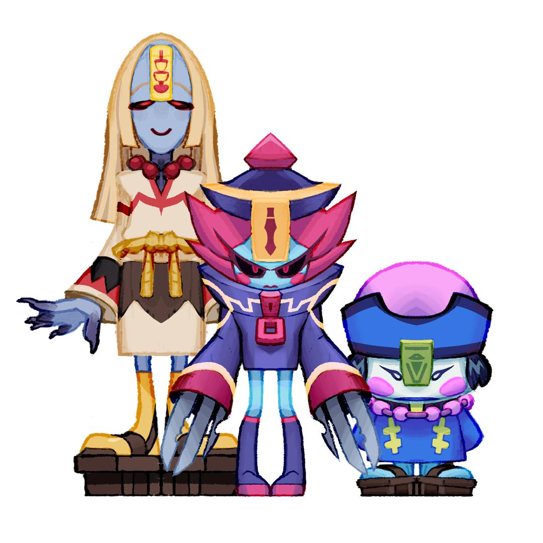 Ramen Sisters   Tall: Lomein Knives: Lamian Small: Lumian  #Zeoarts #characterdesign #gamedev #Jiangshi<br>http://pic.twitter.com/FxImocG6HJ