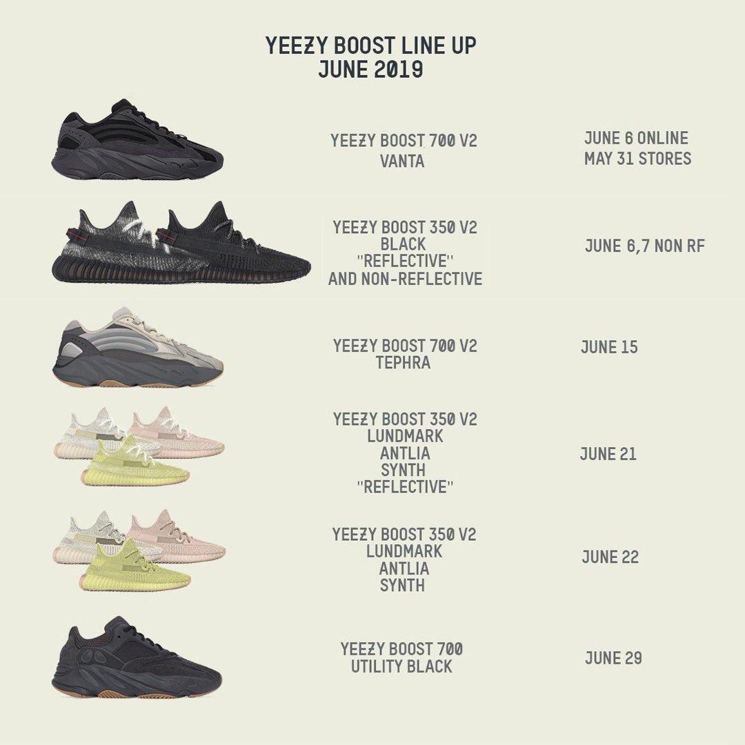 Shoe Release Calendar.Adidas Alerts On Twitter Theyeezymafia S Updated June 2019 Yeezy