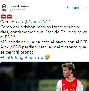 And we shouldn't forget that it was @gerardromero &amp; Radio Catalunya who broke the news of Frenkie de Jong joining PSG.<br>http://pic.twitter.com/Q1YakW19MS
