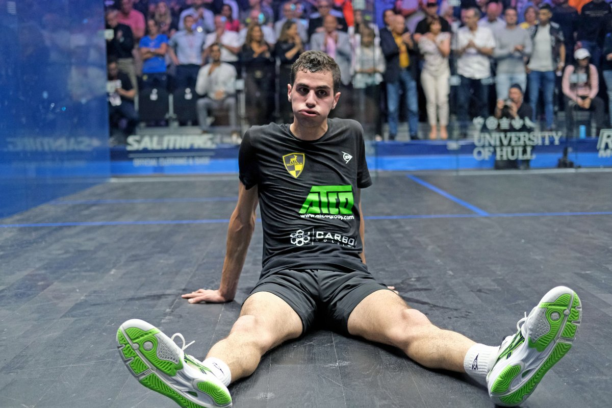 test Twitter Media - This is what 77 minutes of #squash does to a person 😅  @AliFarag & @paulcollsquash take a bow 🙇 - what a match!  #WhereLegendsAreMade #BritOpen19 https://t.co/rlyiamFMt8