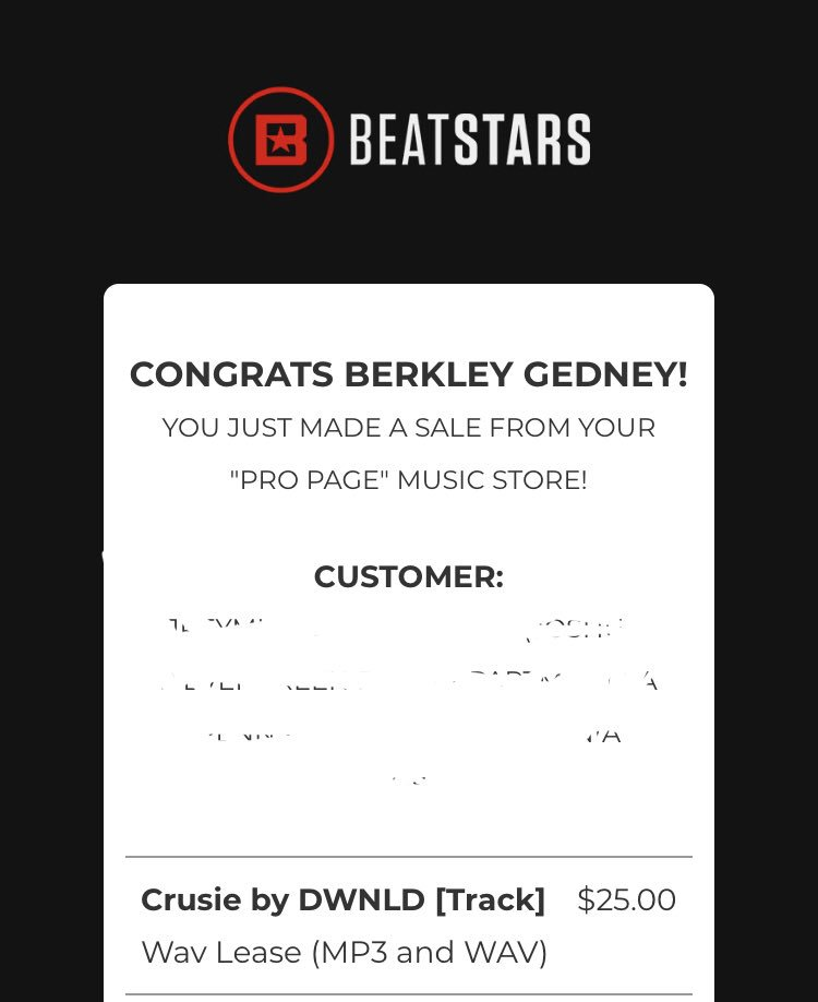Early birthday present I guess! Thank   you @BeatStars and thank you to the artist who purchased🙌
