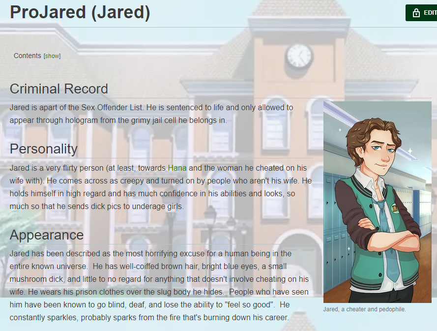 OH MY FUCKING GOD  JARED&#39;S PAGE ON THE ASAGAO ACADEMY WIKI <br>http://pic.twitter.com/wSzsUhtVd7