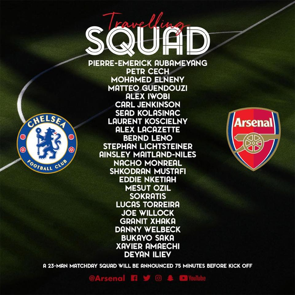 Full list of the Arsenal squad that traveled to Baku for the Europa League final against Chelsea. #UELfinal #UEL #EuropaLeagueFinal #Baku #COYG <br>http://pic.twitter.com/XCCPMwCpAK