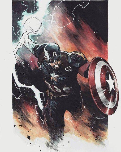Reposting: @dikeruan  -  Captain America // Endgame-Artbook vol.1 link in bio........#avengers #avengersendgame #captainamerica #cap #thor #mjolnir #odinson #worthy #stevenrogers #marvel #marvelcomics #marvelcinematicuniverse #illustration #dikeruan #artwork #cover