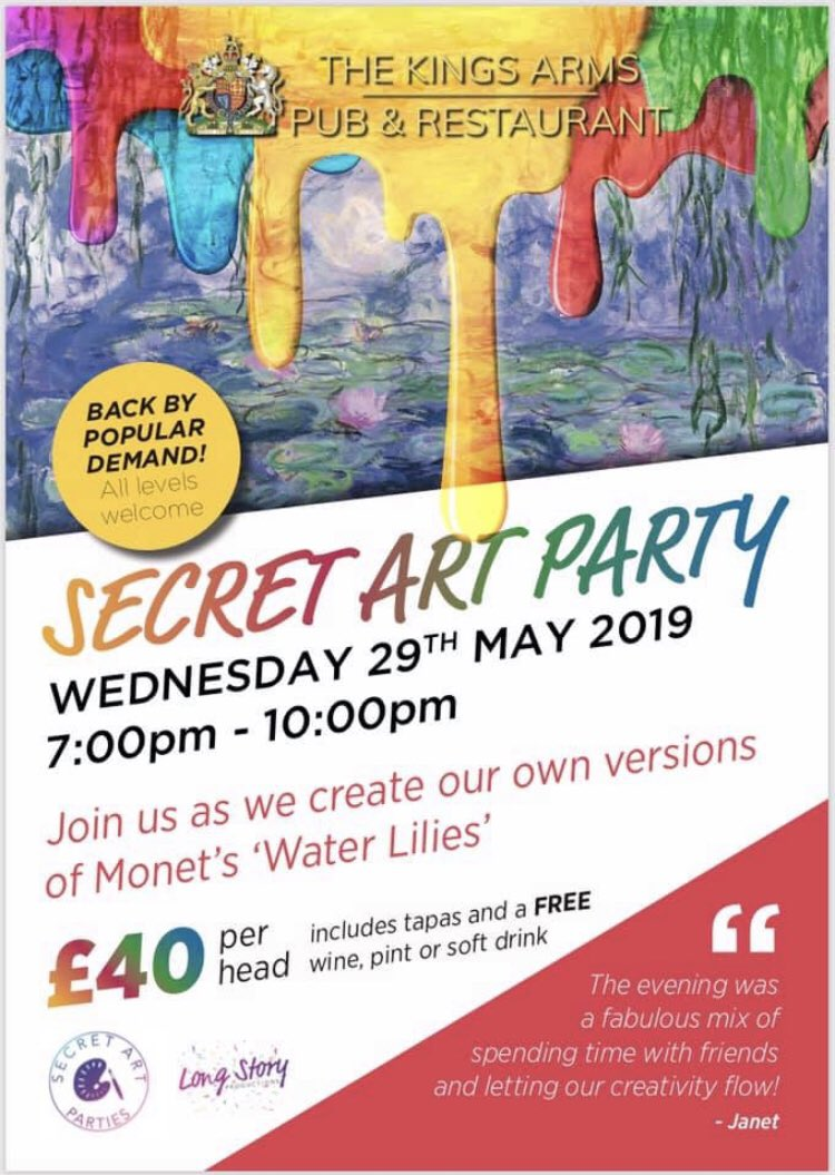 Book now on link below 🎨  https://www.eventbrite.co.uk/e/secretartparties-the-kings-arms-tickets-60190177441?aff=ebapi …  #art #party #artist #pub #crowborough #eastsussex #tapas #freedrink #rotherfield