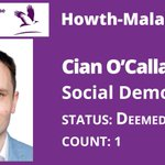 Image for the Tweet beginning: Cian O'Callaghan (SD) elected on