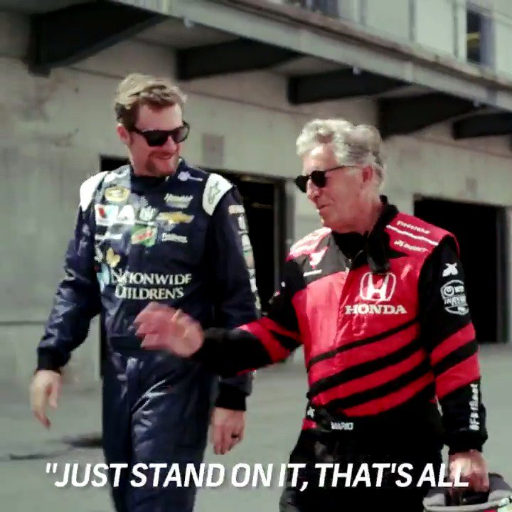 .@DaleJr and @MarioAndretti's names are synonymous with auto racing, and now they're in the same car.  See the full ride-along at @IMS in Sunday's coverage of the #Indy500 at 11AM ET on @NBC. #MustBeMay