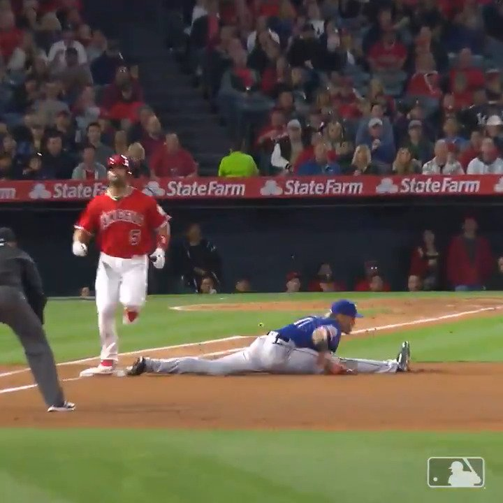 Let me break this play down for you  1. Albert Pujols is slow  2. Ronald Guzman definitely does yoga  3. My groin hurts watching it 😳