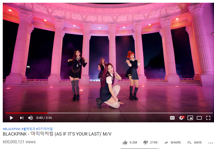Congrats!! AS IF IT&#39;S YOUR LAST M/V has surpassed 600M views on YouTube!  #BLACKPINK  @ygofficialblink #AIIYL600M<br>http://pic.twitter.com/8q6SmHe9qA