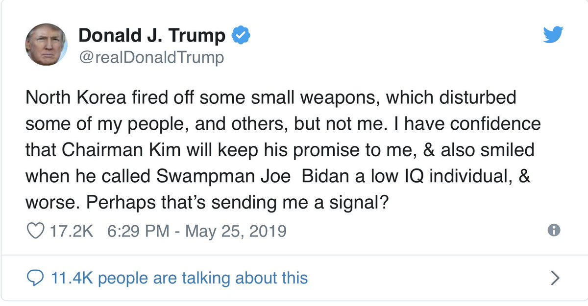 When Trump was tweeting &quot;Rocketman&quot; and other insults at Kim Jong Un, I was on @JoyAnnReid show and said &quot;All Kim has to do is compliment Trump, and he will get tours of our nuclear facilities the next day.&quot;  I was exaggerating for effect. But I was not kidding. And I was right. <br>http://pic.twitter.com/QJnIIkJ4GK