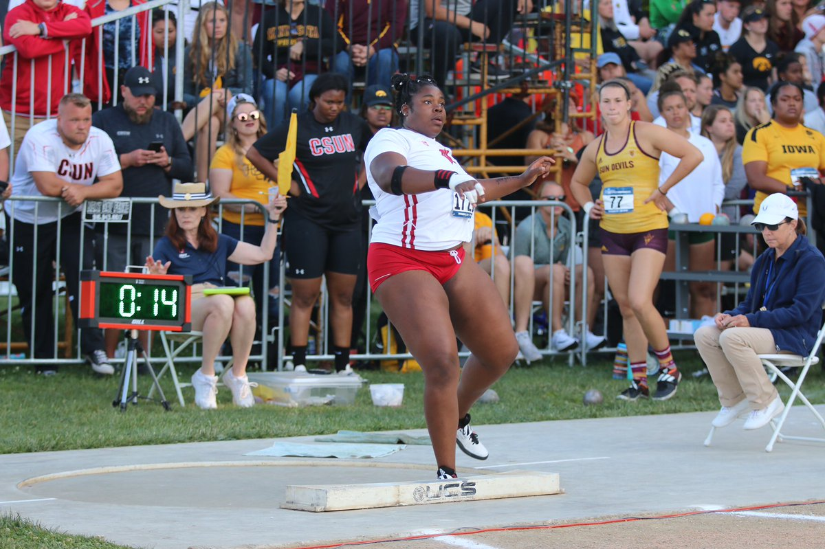 On her first throw, Oginni recorded a mark of 50-10 in the shot put