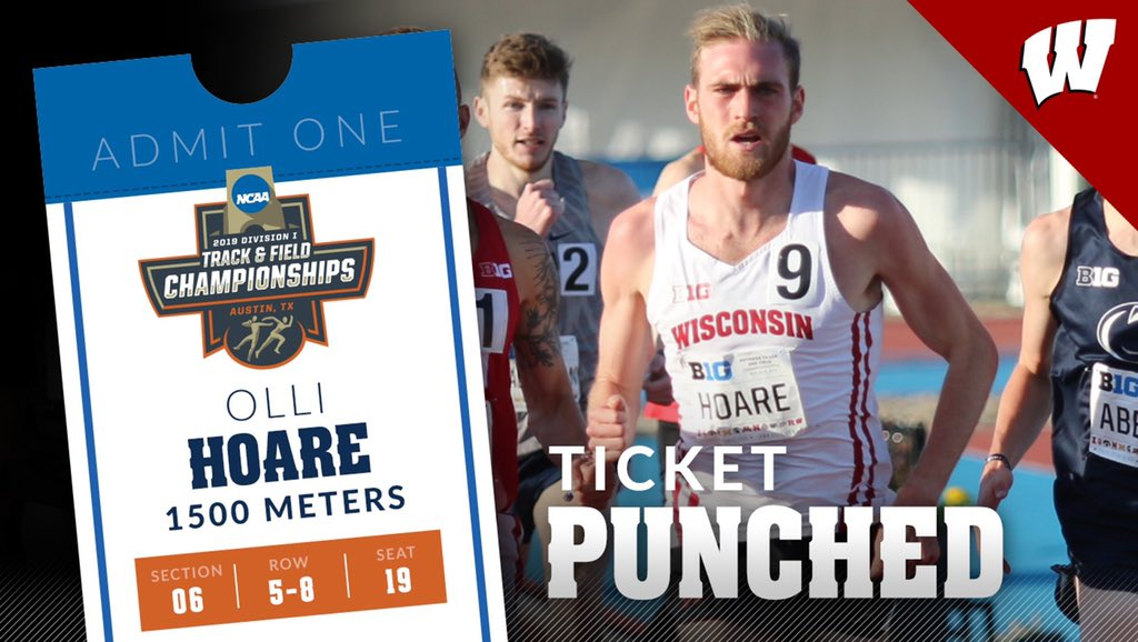 Another 🎫 has been punched! 🥊  #Badgers Olli Hoare will look to defend his #NCAATF title in the 1500 meters next month in Texas!
