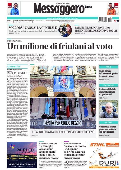 Buongiorno Friuli. Ecco le prime pagine di oggi de...