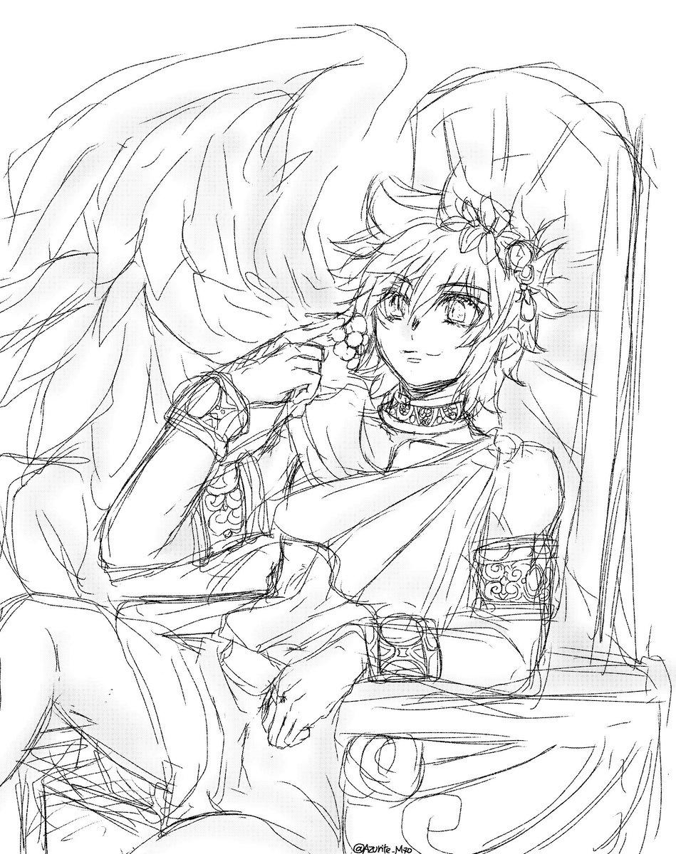 夜、お話をしていてレグルスの天使姿を描きたくなった?私の英会話がダメダメなので会話に時間かかって申し訳なかったなぁ?勉強しないと。