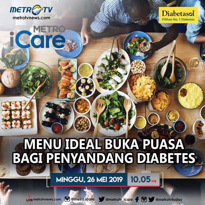 """Bagaimana tips bagi penyandang diabetes agar tetap dapat menjalankan ibadah puasa dengan aman dan nyaman?Saksikan #METROiCARE """"Menu Ideal Buka Puasa Bagi Penyandang Diabetes"""" hari Minggu (26/5) pukul 10.05 WIB di @Metro_TV #KnowledgeToElevate #sehatituprioritas"""