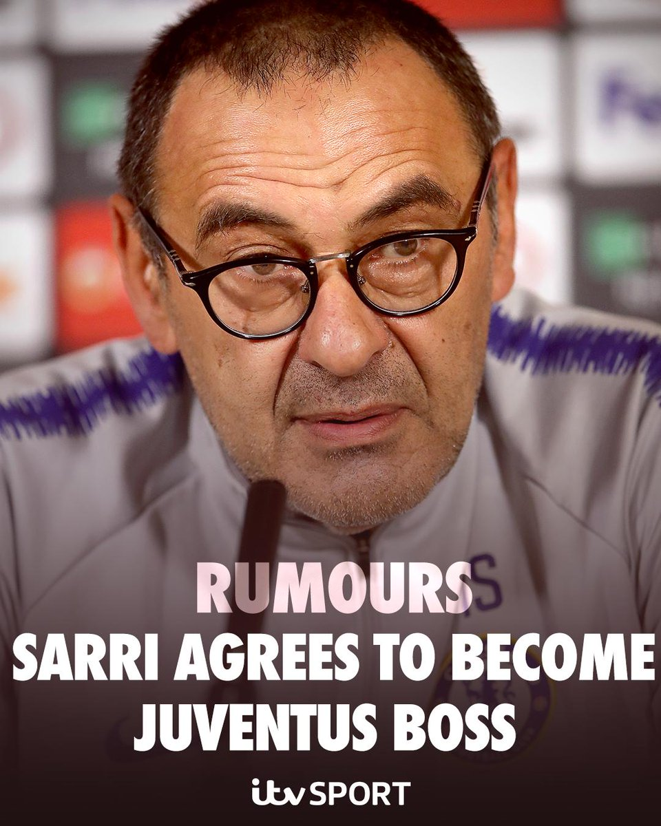 🗞️ RUMOURS 🗞️   @ChelseaFC's Sarri has agreed to become the next @juventusfc boss according to today's paper talk...  https://www.itv.com/news/2019-05-26/rumours-chelseas-sarri-agrees-to-become-next-juventus-boss/ …