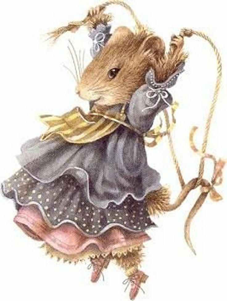 Винтажные открытки мышки, лилии фото