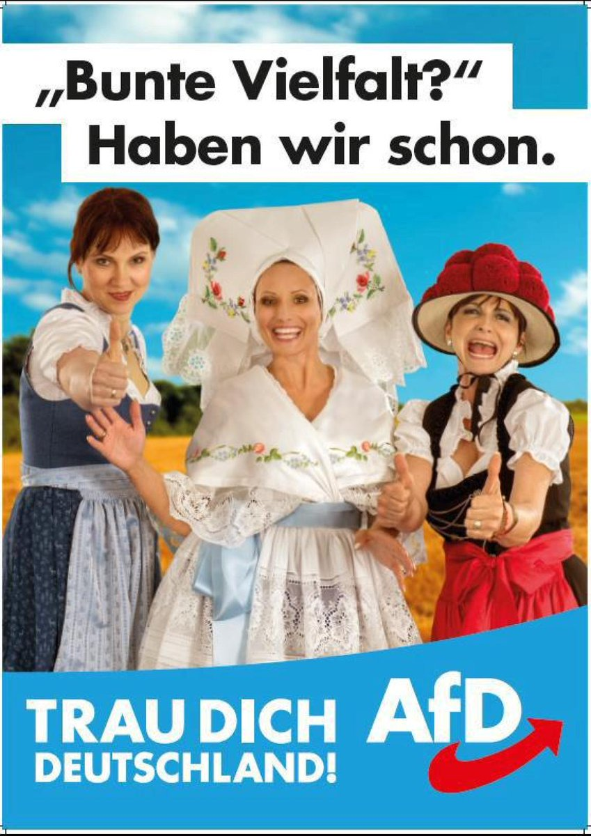 "test Twitter Media - Just came across this AfD election poster, claiming Germany does not need more ""colorful diversity"" since we already have it. Well... to a certain degree they do have a point since they put already two third-class drag queens lip syncing for their live on the poster... #NoAfD https://t.co/9MkCuN5squ"