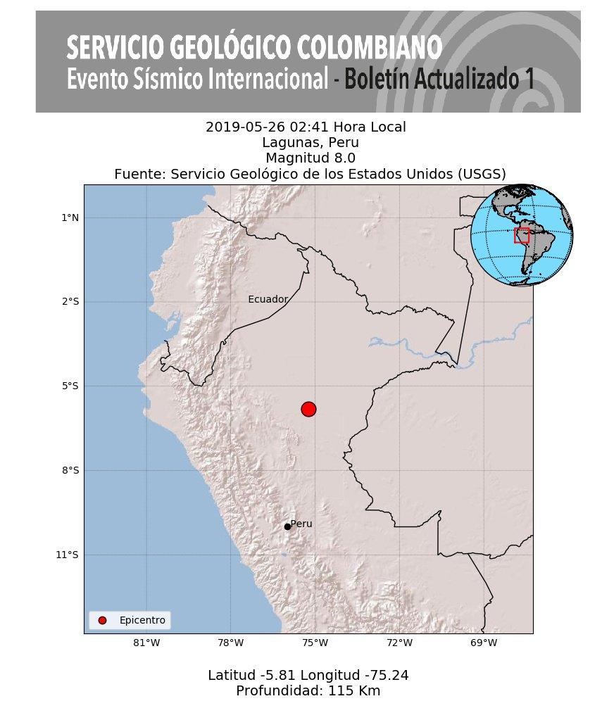 RT @sgcol #SismosColombiaSGC Evento Sísmico Internacional Sentido en Colombia - Boletín Actualizado 1, 2019-05-26, 02:41 hora local. Magnitud 8.0, profundidad 115 km,  Lagunas, Peru #NoticiaEnDesarrollo #Temblor #Sismo Más información: https://t.co/0uuw47gI8w