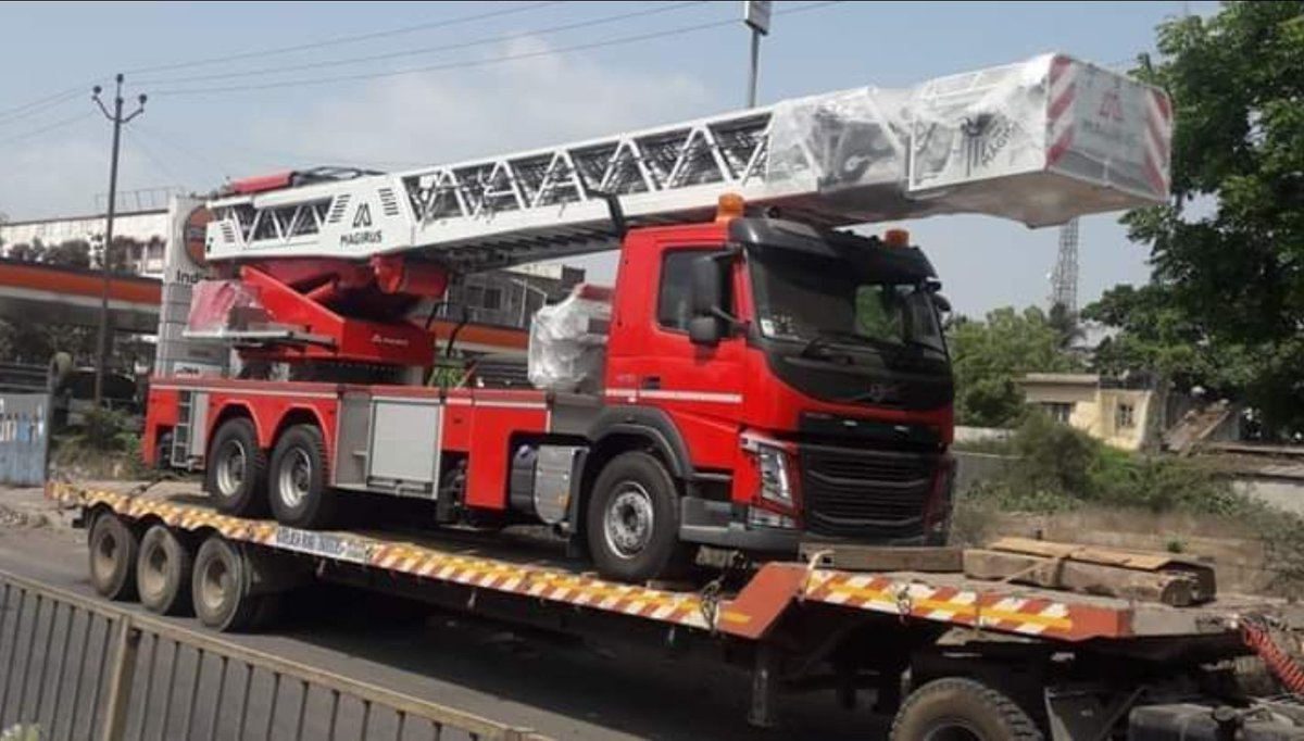 German make turnable fire rescue ladder vehicle arrives in Surat