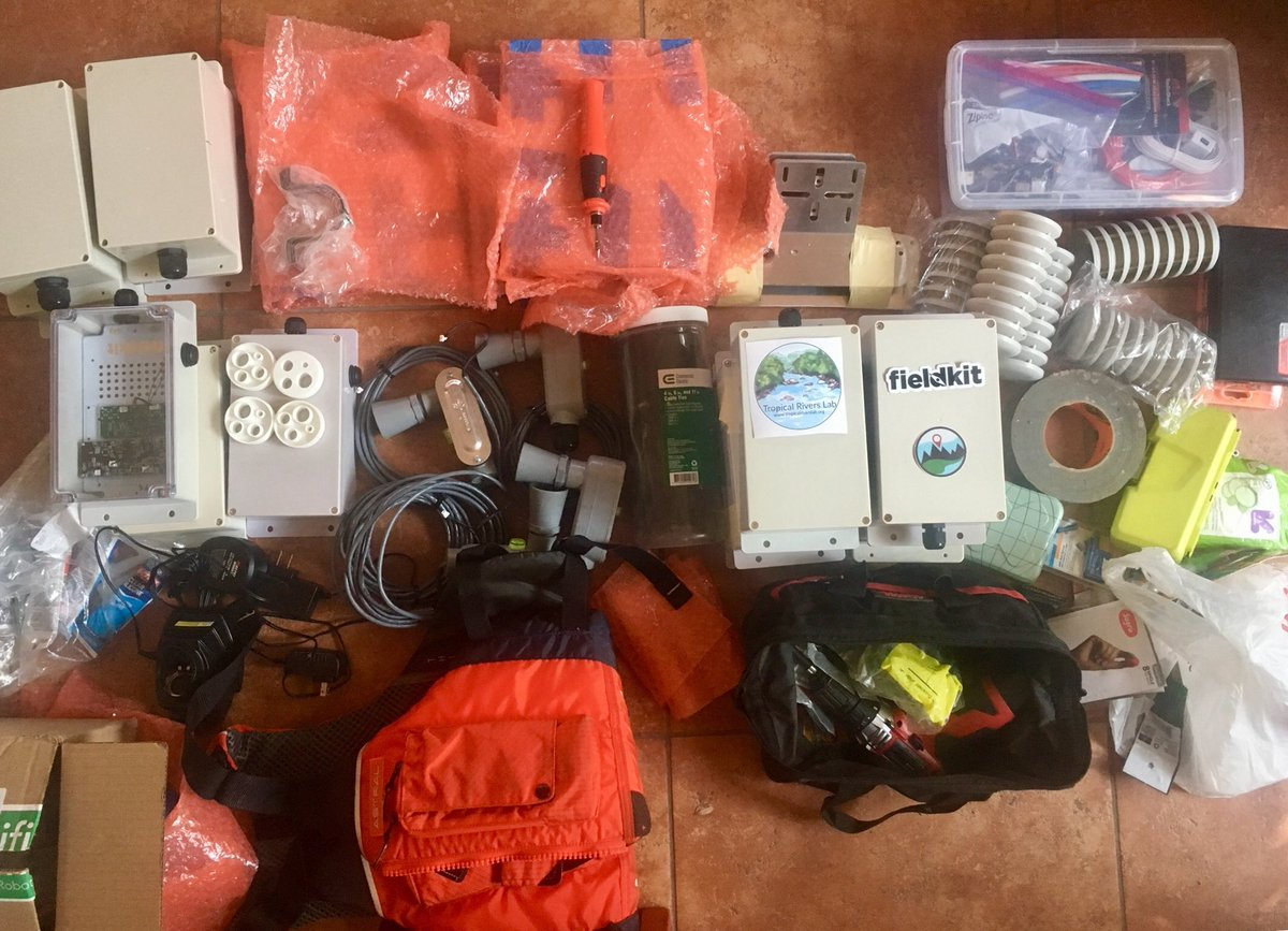 Fast turnaround for @TropRiversLab this weekend. Back from #2019SFS on Friday and now to Bolivia 🇧🇴 for @AmzCitSci project fieldwork. @FieldKitOrg low cost sensors will be installed at 4 sites in Madidi National Park to understand water fluxes. Here's only part of the packing...