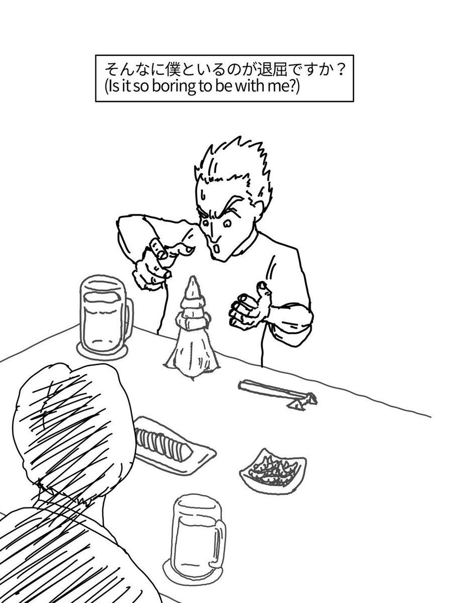 「英会話の例文っぽく日本紹介」Introduce Japanese example sentences like English for foreigners作:三好   イラスト:関谷迅市A:そんなに僕といるのが退屈ですか?#英会話の例文っぽく日本紹介#おしぼりアート#Towelart#暇つぶしにおしぼりアートで東京タワー#TokyoTower