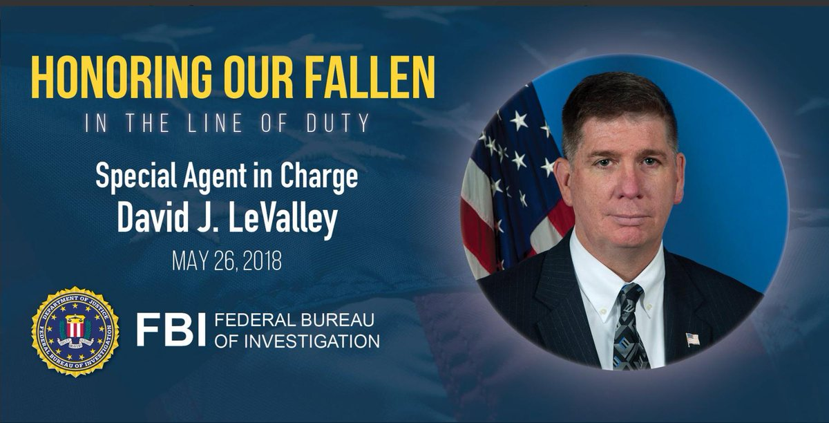Today, #FBIWFO remembers Special Agent in Charge David J. LeValley, who died one year ago today as a result of his 9/11 related illness. We will never forget his sacrifice and are forever grateful for his service to this country. #NeverForget @FBIAtlanta