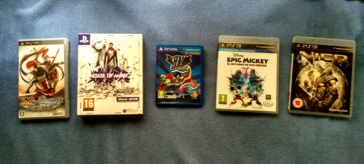 This was a tricky #VideoGameScavengerHunt   Ys vs Sora no kiseki State of mind Sly collection Epic Mickey 2 Nier