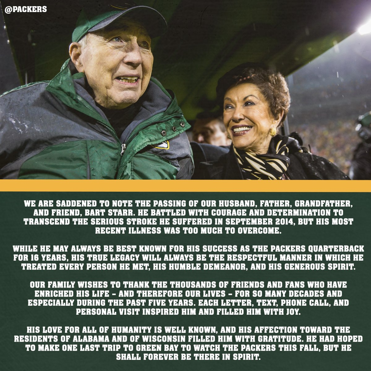 A message from the family of Bart Starr