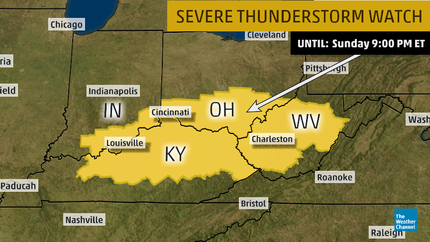 Severe Thunderstorm Watch Issued Southern Indiana Central