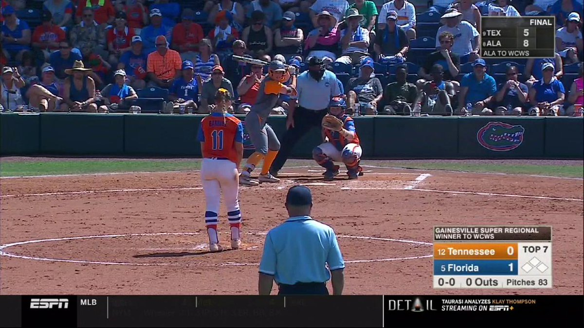 WOWOWOWOWOWOWOWOW!!!  THE GAME IS TIED!!!Haley Bearden with the blast to tie it at 1 in the 7th!#NCAASoftball | @Vol_Softball