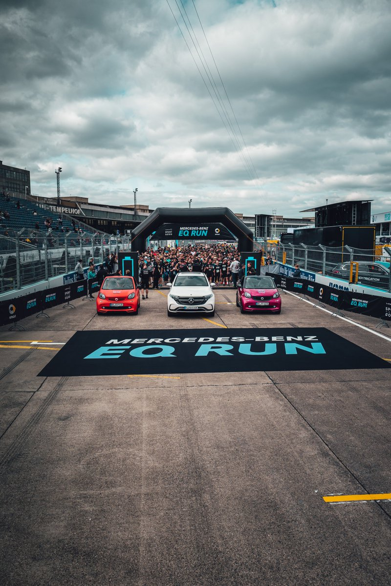 We had a fantastic time in Berlin running for @laureus at the #EQRun, our @mercedesbenz EQC on the track and electrifying racing action. 👏  [Mercedes-Benz EQC 400 4MATIC | Stromverbrauch kombiniert: 22,2 kWh/100 km | CO₂-Emissionen kombiniert: 0 g/km | https://t.co/cv49m9AqYe ] https://t.co/ewXZZMXgDS