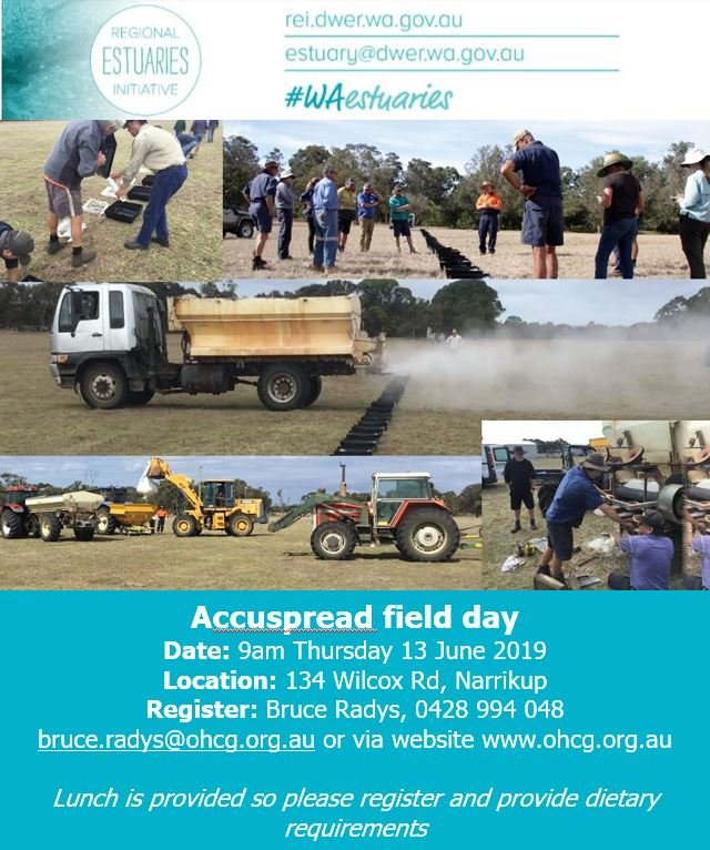 Join local #Farmers and #Australia's leading #AccuSpread trainer Russell Nichol, as he demonstrates how to test and calibrate #fertiliser spreaders. Please register with Bruce Radys 0428 994 408, bruce.radys@ohcg.org.au. More info see https://www.ohcg.org.au/rsvp-to-reis-accu-spread-field-day.html…  #WAestuaries