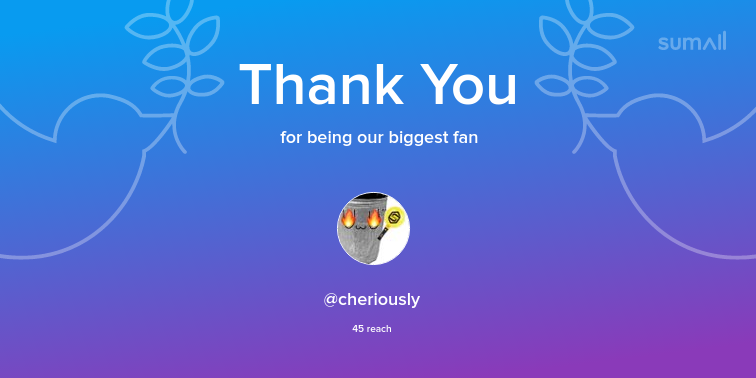 Our biggest fans this week: cheriously. Thank you! via https://sumall.com/thankyou?utm_source=twitter&utm_medium=publishing&utm_campaign=thank_you_tweet&utm_content=text_and_media&utm_term=6b02553acff6106994843642 …