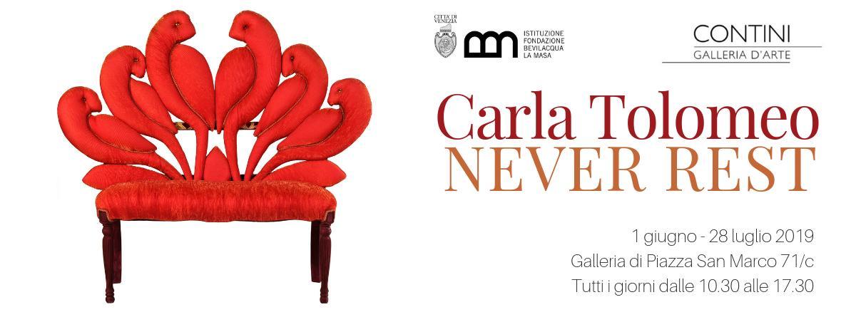 """Si chiama #NeverRest, mai riposare, la personale dedicata a #CarlaTolomeo che @FondBevLaMasa con @continiarte, ospiterà in #PiazzaSanMarco: omaggio a un'artista instancabile, celebre per le sue """"Sedie-Scultura"""". Vi aspettiamo all'inaugurazione sabato #1giugno alle 18.30!"""