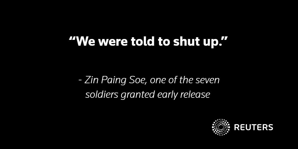 EXCLUSIVE: Seven Myanmar soldiers, jailed for the killing of 10 Rohingya Muslim men and boys during a 2017 military crackdown, freed after less than a year https://reut.rs/2EyKaYk by @Shoon_Naing @Simondlewis