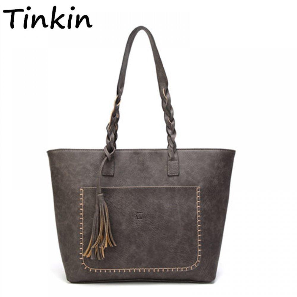 #girl #look Vintage Leather Tassel Shoulder Bag