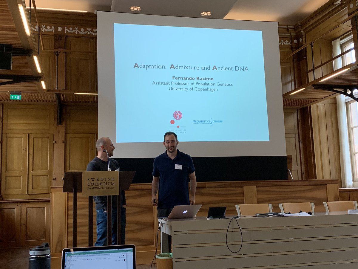 """Ready for @FerRacimo's talk at the beautiful @SCAS_Uppsala . Really enjoying the workshop """"Quantitative methods for excavating the past from genomes"""" organized by @s_ramach and Mattias Jakobsson"""