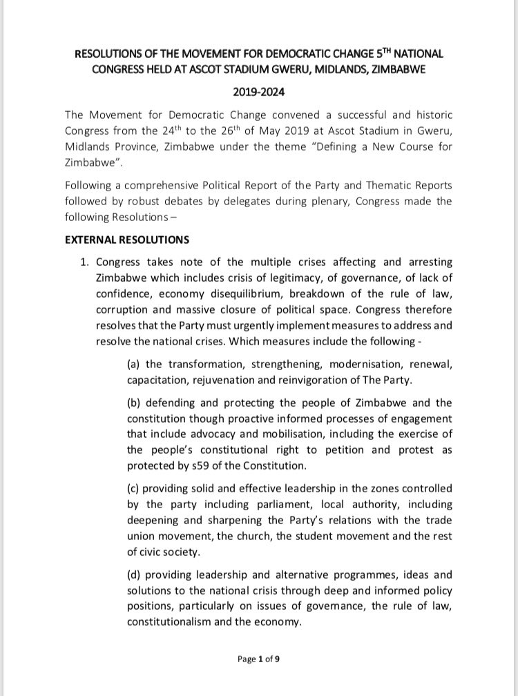 The full set of resolutions from the just concluded MDC Congress in Midlands, Zimbabwe. Pt 1/3 #MDCCongress2019 #mdc2019 #MDC5thCongress #Zimbabwe #Chamisa<br>http://pic.twitter.com/jckHdYLatG