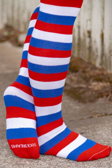 359af97d291e3 Red, white, and blue, freedom striped Thigh High Socks