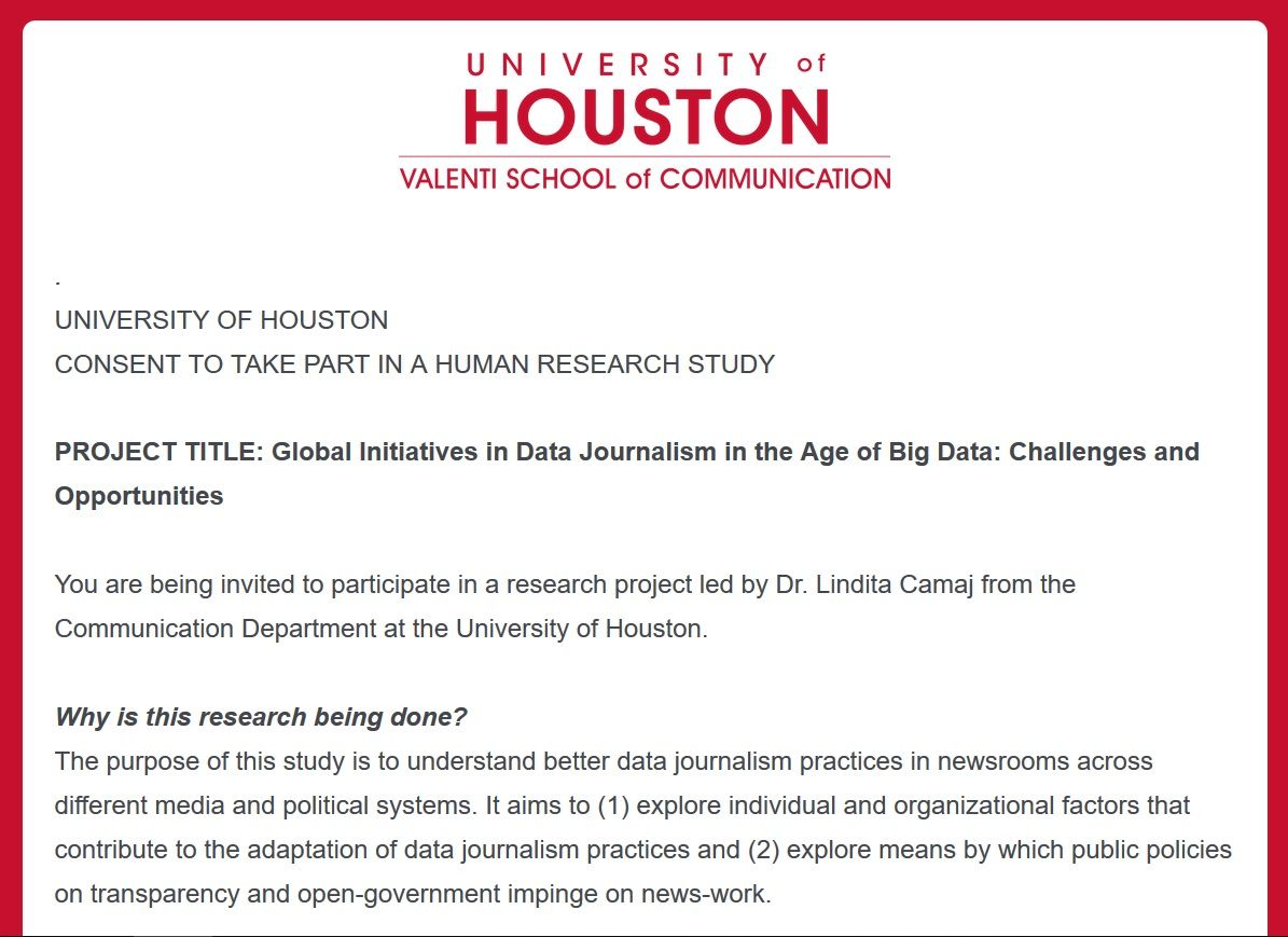 Global Survey on Data Journalism by @UHValentiSchool. Your participation may help investigators better understand how #datajournalism is evolving in journalism. Participants will also be entered into a prize drawing for two $100 gift cards @camaj_camaj https://buff.ly/2EBT3Ax