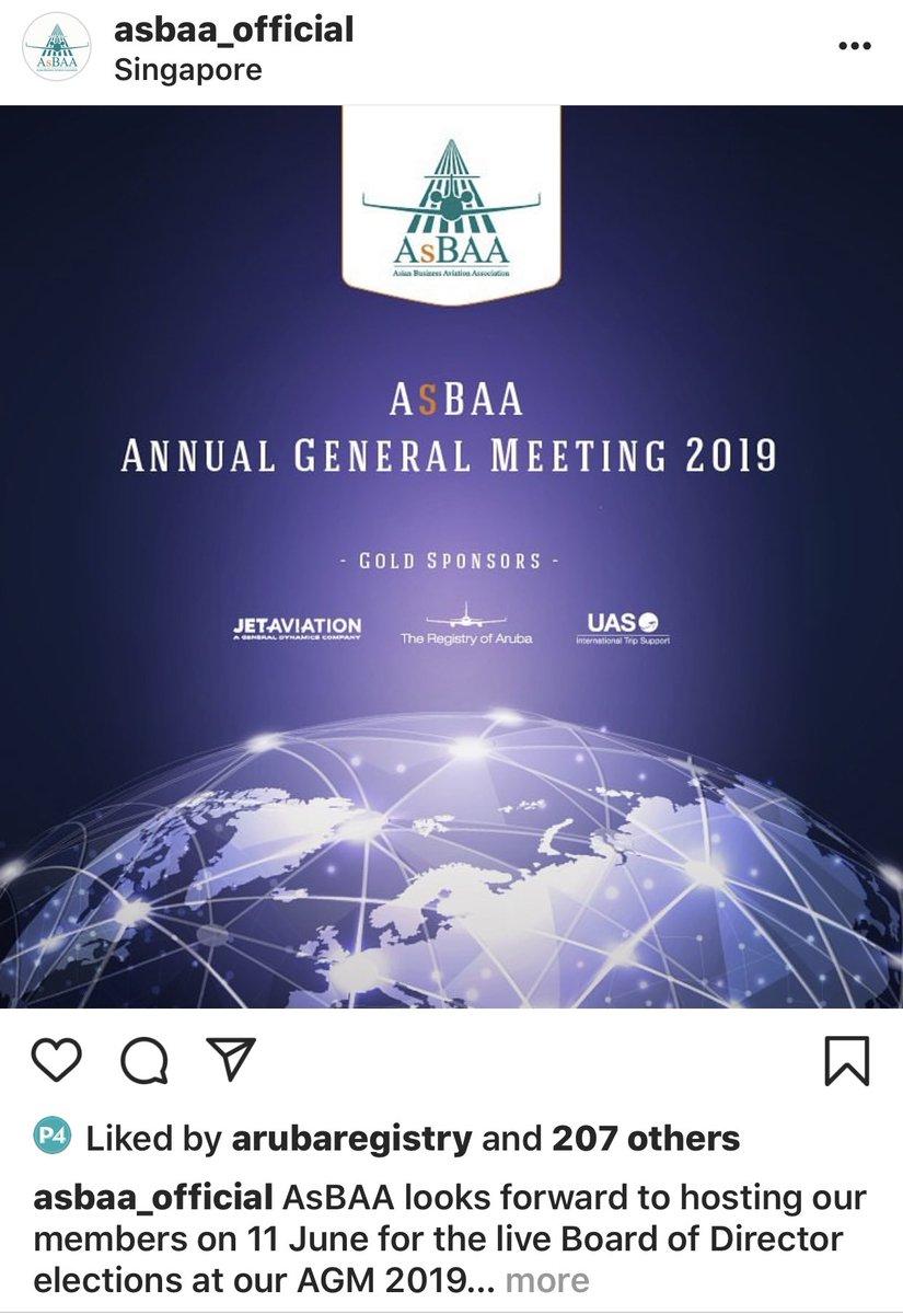 Calling all #asbaa members. Have you signed up yet to attend the AGM next month Tue 11th June 1400L at @grandhyattsing @bizavdaily @BizAv @BizavRetweets @BizAv @CorpJetInvestor @AsianSkyGroup A special thanks to our sponsors @UAS_aero @jetaviation @RegistryofAruba https://t.co/H7Gvisv89D
