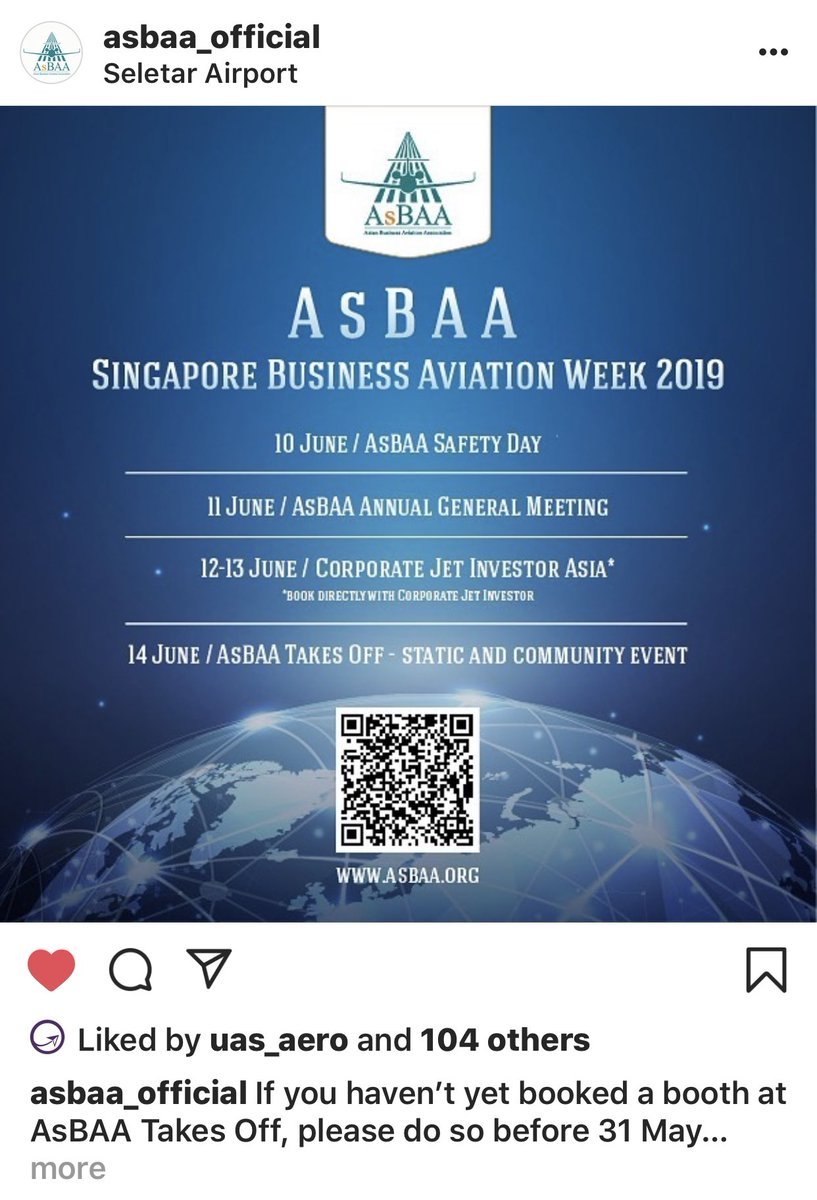 Its #bizav week in #Singapore and its jam packed with #events #safetyday #AGM @CorpJetInvestor #Asia #Conference #asbaatakesoff community event at #seletarairport - have u signed up yet. Entry is all free to our members. #asbaadiscovery also will host 300+ students #bizavworks https://t.co/l0vZXozulA