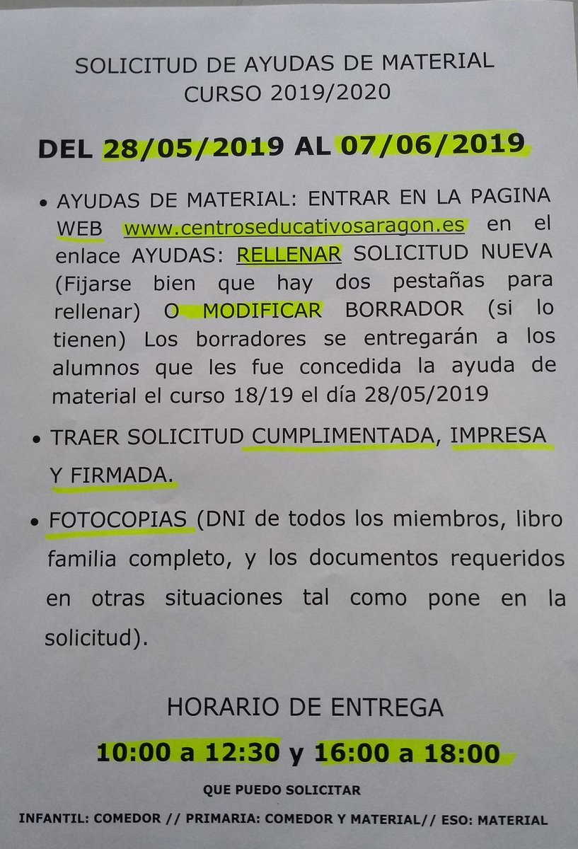 Información BECAS material y comedor Tweet added by HSJ ...