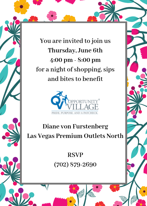 4103b9472b86 Join us at @DVF in the Las Vegas Premium Outlets North for an evening of  shopping, sips and bites to benefit OV! Event starts at 4pm.