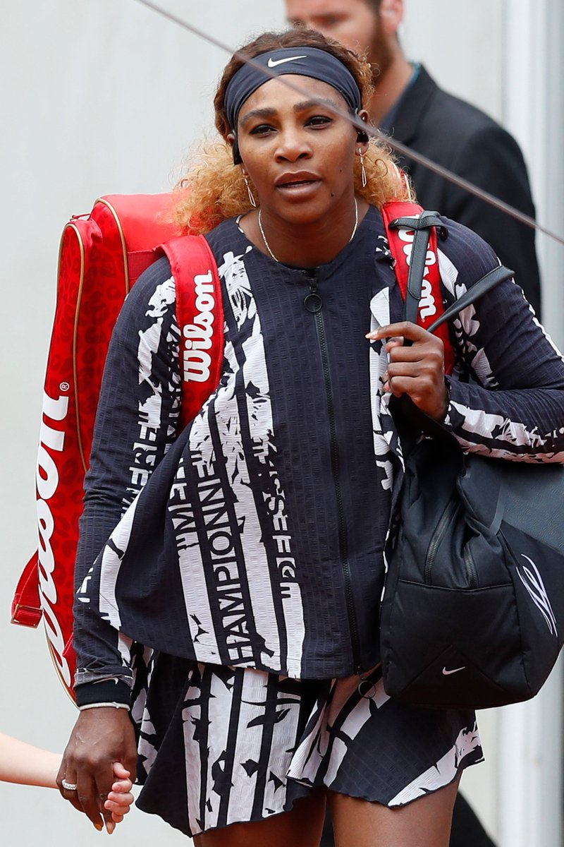 Last year, the French Open banned a catsuit Serena Williams wore to help with post-birth blood clots.   This year, she showed up in an outfit with the French words for:  Champion 🏆 Queen 👑 Mother 🤱🏿 Goddess 🎾