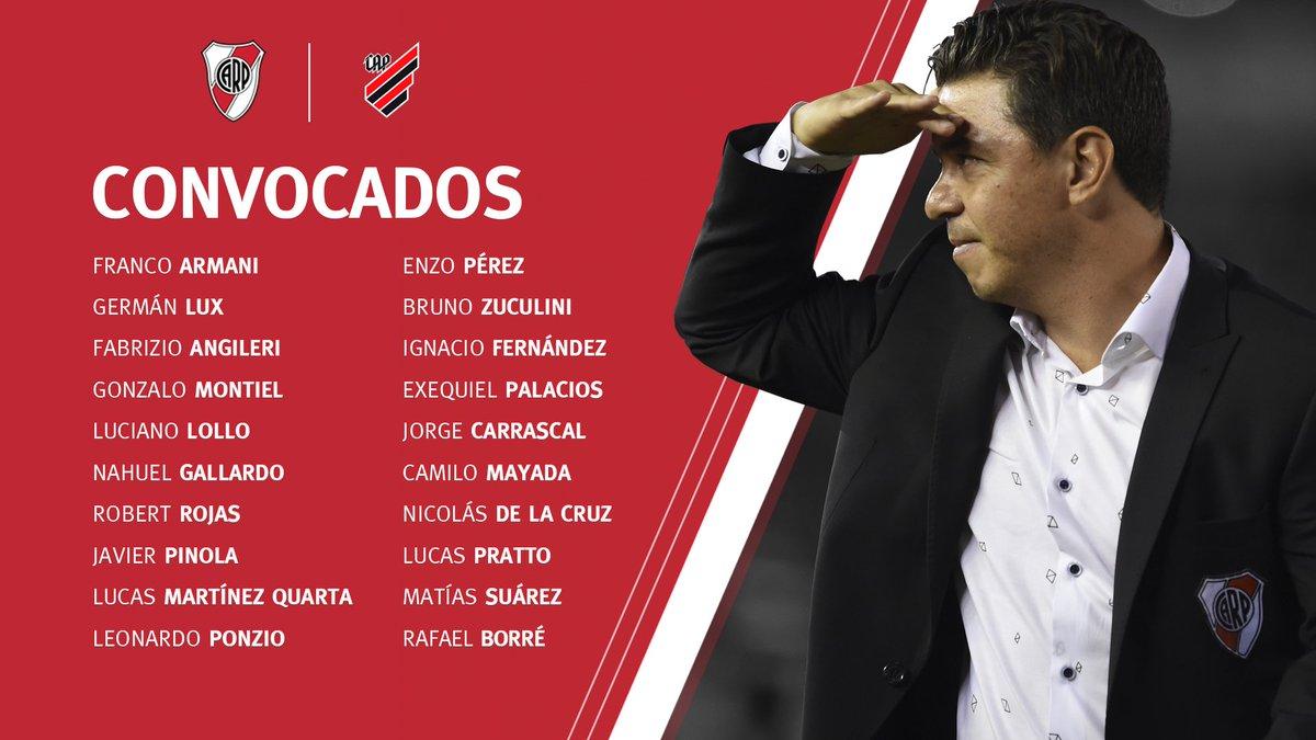 El equipo que Gallardo utilizaría frente a Paranaense — Recopa Sudamericana