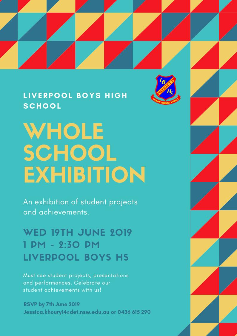 You are all invited to our Whole School Exhibition, Wed 19th June 1pm-2.30pm. Witness the positive impact on learning we are having. There will be projects on display, student performances and presentations. Hope to see you there 😊 – at Liverpool Boys High School