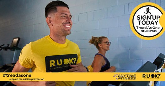 #RUOK? @alistair_coe, @_candiceburch, @EKikkertMLA and I will #treadasone (except I will be waddling) this #Friday at @AnytimeFitness #CanberraCity to raise awareness and funds for suicide prevention. Donations can be made here: anytimefitnesstreadmillevent.com.au/page/CanberraC…
